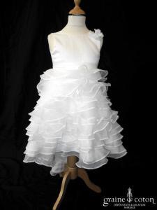 Robe de demoiselle d'honneur en organza et satin ivoire