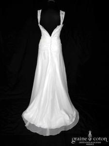 Lambert Créations - Robe en mousseline et drapé de dentelle ivoire (bretelles dos boutonné fluide bohème)