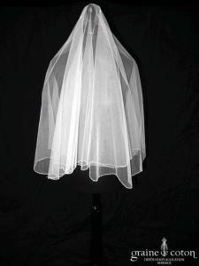 Pronovias - Voile court en tulle ivoire bordé de perles