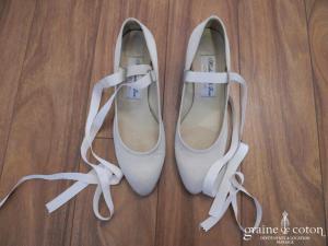 Mademoiselle Rose - Escarpins (chaussures) en satin ivoire façon babies