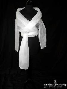 White One (Pronovias) - Étole boléro cache coeur en organza de soie ivoire à manches