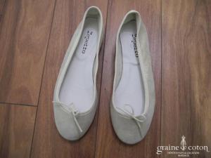 Repetto - Ballerines (chaussures) en veau velours rose poudré