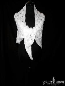 Châle/étole en laine ivoire, tricoté main