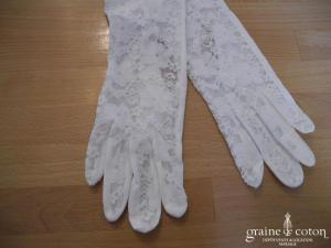 Warmeiv - Gants long en dentelle et coton ivoire avec noeud