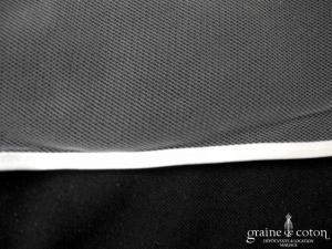 Crinoligne - Voile long de 3 mètres en tulle ivoire bordé d'un biais de satin