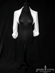 Emelie Costa pour Cymbeline - Boléro en taffetas ivoire manches tourbillon