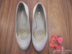 Eram - Escarpins (chaussures) en satin ivoire avec clips