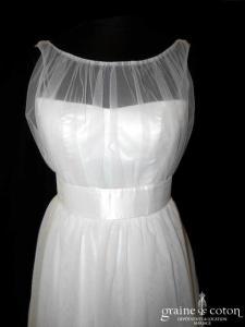 Création - Robe en tulle fluide ivoire clair (bretelles soie sauvage dos boutonné bohème)
