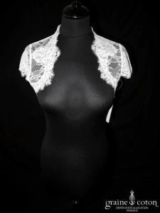 Bianco Evento - Boléro manches courtes en fine dentelle ivoire (E152)
