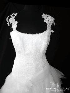 Aurye Mariage - Million (mouchoirs de tulle dentelle bretelles laçage taille basse)