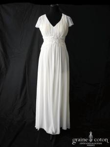 Création - Robe en mousseline et dentelle fluide ivoire clair (bohème drapée bretelles manches dos-nu)