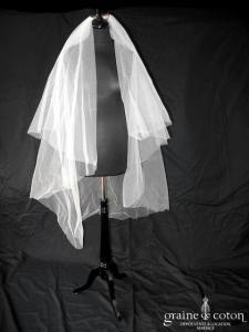 Pronovias - Voile mi long en tulle brut ivoire (avec rabat)