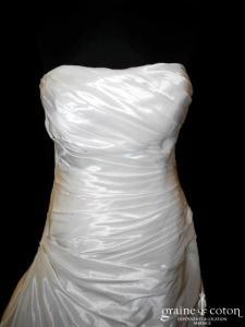 Maria Karin - Robe bustier drapée en taffetas ivoire (taille basse)