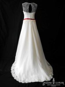 L'atelier de Marie - Création en tulle et dentelle ivoire (manches bretelles bohème bustier dos boutonné)
