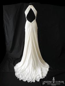 Sartoria Massimo - Création italienne en crêpe de soie ivoire (tour de cou bretelles fluide dos-nu dos boutonné)