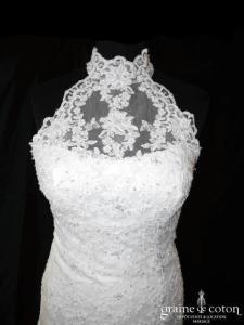 Miss Kelly - Robe sirène en dentelle perlée ivoire (tulle tour de cou bretelles dos-nu)