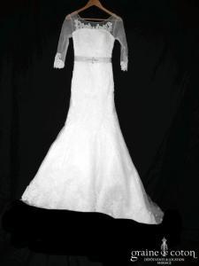 Au bonheur des mariées - Robe sirène en tulle et dentelle ivoire clair (laçage manches bretelles fluide bohème)