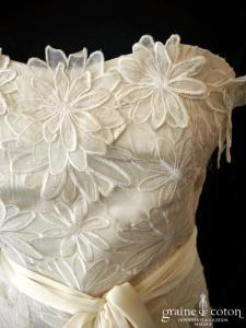 René Derhy - Robe courte en soie et dentelle (bustier)