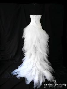 Pronuptia - Panoramique (courte et longue mouchoirs tulle taffetas drapé taille basse blanche dos boutonné dentelle bustier)