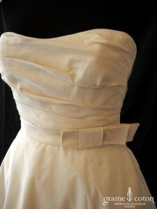 Amsale - Création en taffetas de soie ivoire (bustier drapé coeur)