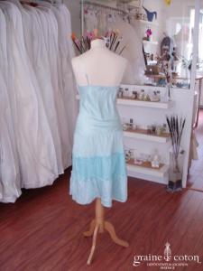 Morgan - Robe de soirée mi-longue en soie bleue (non stocké en boutique, essayage sur demande)