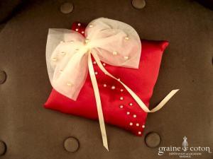 Florence - Coussin d'alliances en satin rouge et noeud de tulle ivoire