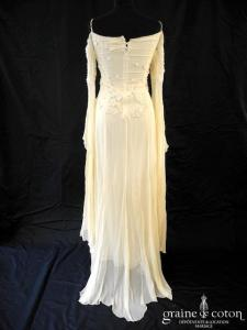 Lolita Lempicka - Robe empire en mousseline de soie fluide et dentelle (coeur bretelles manches)