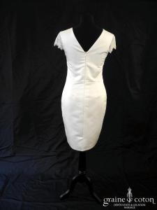 Lili la mariée - Robe courte en satin et dentelle (manche bretelles) avec la ceinture