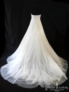 Pronovias - Leonela (coeur tulle drapé dentelle fluide bustier princesse taille basse A-line laçage)