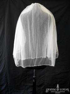 La Sposa (Pronovias) - Voile mi long en tulle ivoire bordé de petites perles nacrées