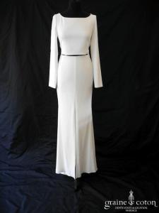 Rime Arodaky - Ensemble jupe sirène fendue et bustier à manches longues en crêpe (laçage, droite fluide taille basse)