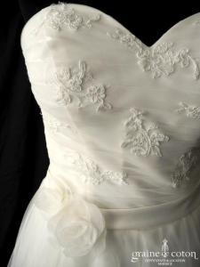 Orea Sposa - Robe mi longue en tulle ivoire (courte bustier coeur fluide années 50 dentelle)