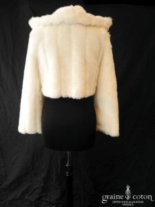 Bianco Evento - Boléro / manteau en fausse fourrure ivoire