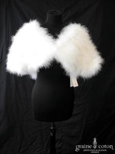 Bianco Evento - Boléro en plume duvet de marabout blanc (E185)