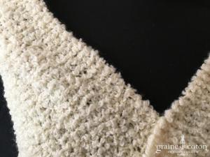 Écharpe en laine ivoire - tricoté main