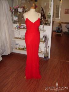 Pronuptia - Robe longue fluide rouge (non stocké en boutique, essayage sur demande)