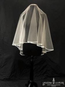 Cymbeline - Voile court en tulle ivoire bordé d'un biais de satin