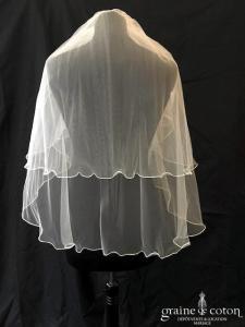 Bianco Evento - Voile court en tulle souple surjeté