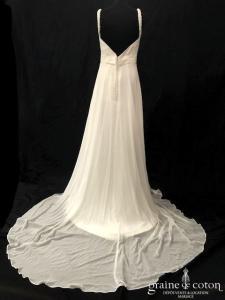 Priam - Pampelona (mousseline fluide drapé bretelles dentelle dos boutonné dos-nu décolleté-V)