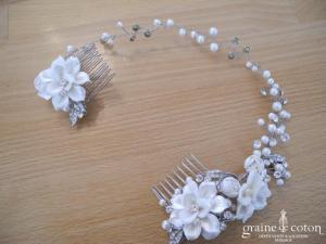 Headband / peignes à cheveux avec fleurs, perles et strass
