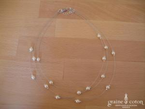 Au fil perlé - Collier 3 rangs avec perles ivoire