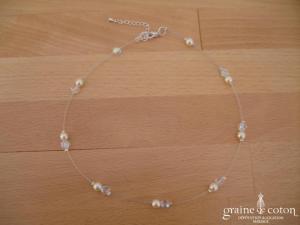 Au fil perlé - Tour de cou un rang 2 perles nacrées ivoires