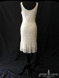 San Patrick pour Pronovias - Robe courte en perles façon dentelle ivoire (bretelles taille basse)