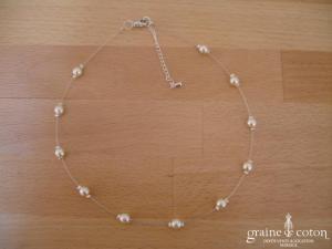 Au fil perlé - Tour de cou un rang 1 perle nacrée ivoire