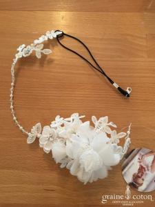 Bianco Evento - Coiffe en dentelle cristaux et perles ivoires (7488)