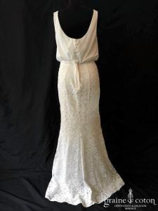 White One - Jesca (crêpe fluide dentelle fourreau sirène dos boutonné col bénitier bretelles)
