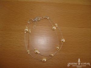 Au fil perlé - Bracelet 2 rangs perles ivoires