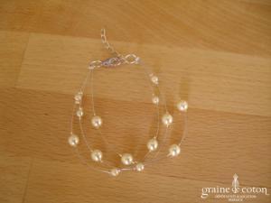 Au fil perlé - Bracelet 3 rangs perles ivoires