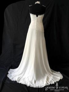 Linea Raffaëlli - Création en mousseline et dentelle ivoire (fluide drapé dos boutonné bohème taille basse bustier bretelles)