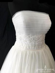Luna Novias - Timbal (courte mi longue tulle fluide dentelle bohème bustier drapé dos boutonné années 50)